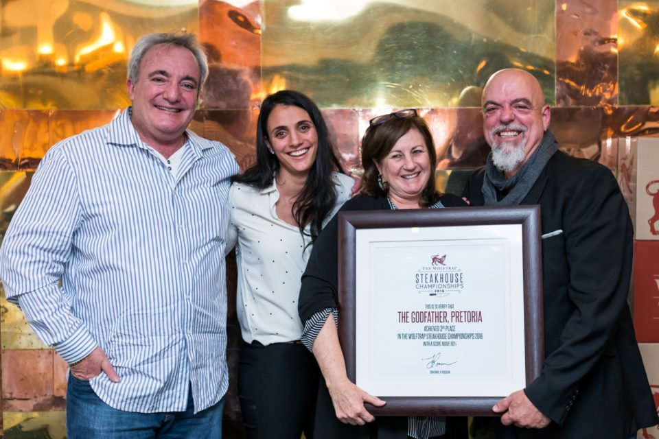 Hospitality-hedonist- 3rd place The Godfather L to R Steve Kobrin, Inge Hoffmann, Janet Kobrin, Pete Goffe-Wood