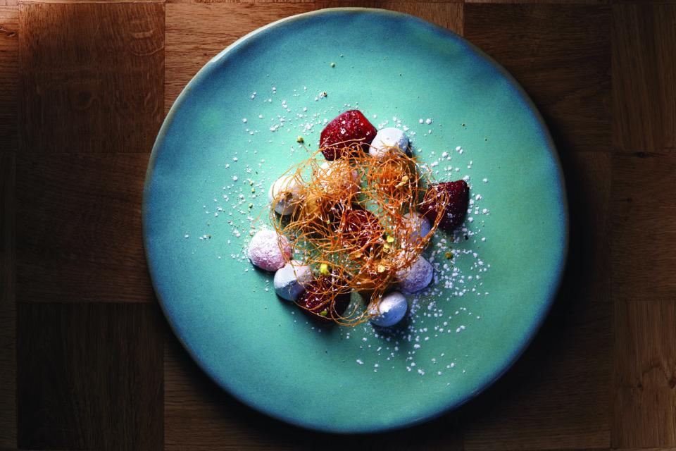 Marble - Food - Burnt strawberry, pistachio creme, ash meringue, kataffi