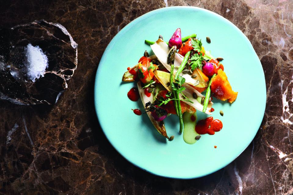 Marble - Food - Harissa pumpkin with green beans, endive, radish, pumpkin seeds, buttermilk dressing