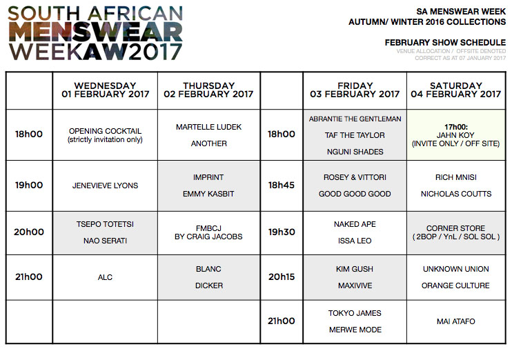 SAMW AW17 Schedule - South African Menswear Week AW17
