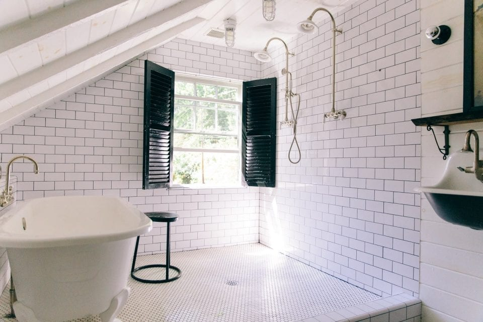 leanne ford bathroom 960x640 - Look Inside: Renovated Pennsylvania Schoolhouse